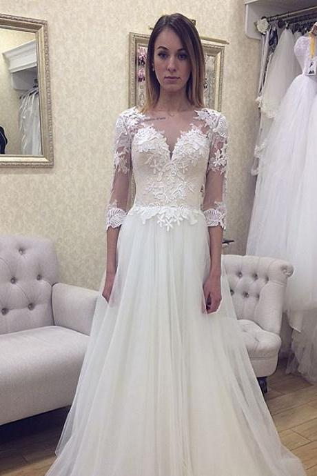 Sheer Lace Appliqués A-line Long Wedding Dress with Mid-Length Sleeves and Court Train