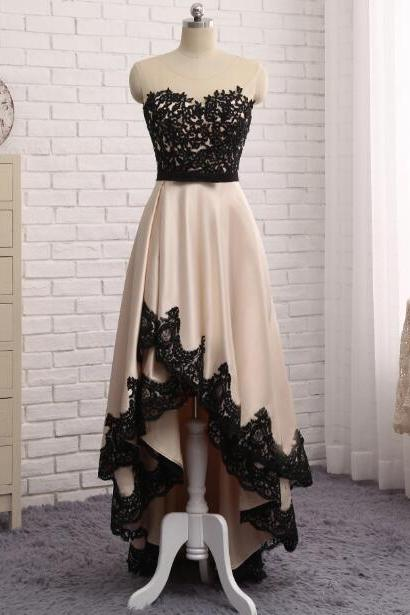 Black Lace Prom Dresses,Evening Dress Front Short Back Long Black Lace Champagne Prom Dress