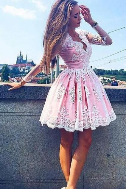 lace homecoming dress pink homecoming dress, short homecoming dress