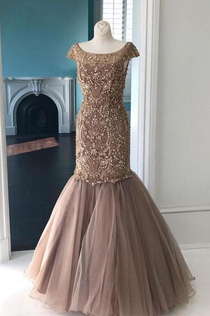 Unique Round Neck Prom Dresses,Tulle Sequin Beads Prom Dress,Mermaid Long Prom Evening Dress