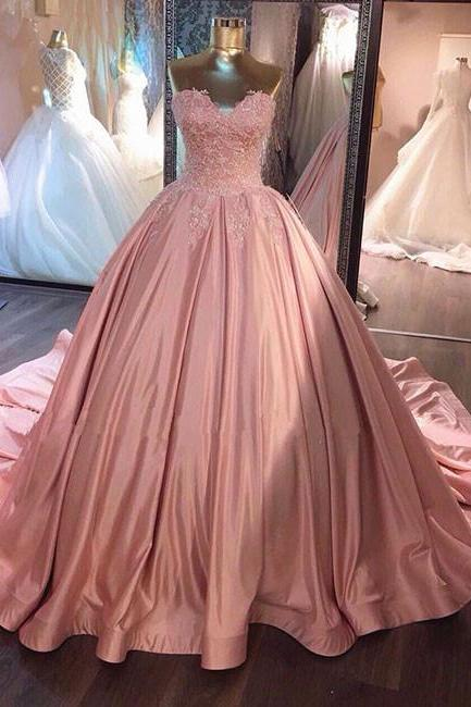 New title: Pink Lace Appliques Sweetheart Floor Length Satin Wedding Gown Featuring Train