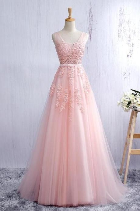 Blush Pink Prom Dresses,Evening Dress Prom Dress with Lace