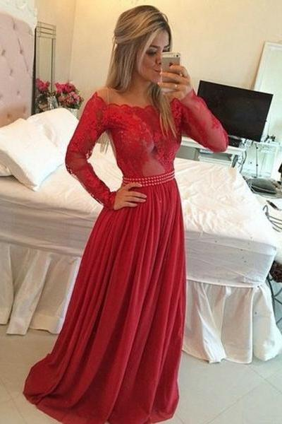 A-Line Prom Dress,Off the Shoulder Prom Dresses,Long Red Chiffon Prom/Evening Dress with Long Sleeves