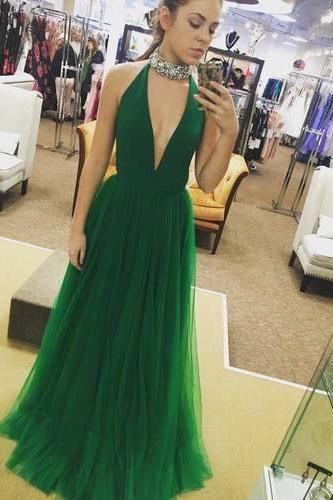 Plunging Neck Long Green Prom Dresses, with Criss-cross Back Strings Prom Dress