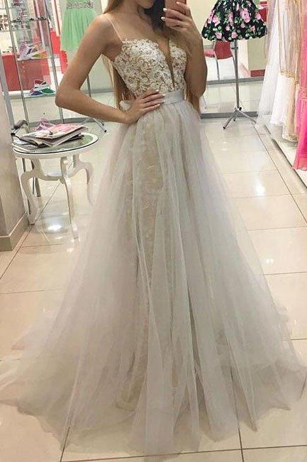 white sweetheart prom dresses,lace tulle long prom dress, white evening dress