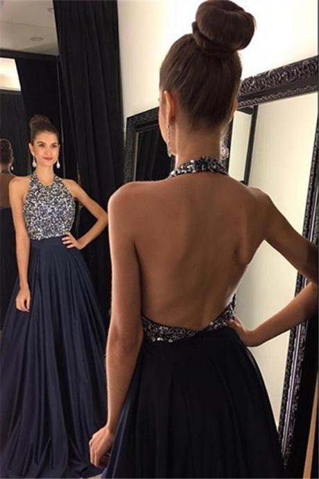 navy blue prom dresses, beading prom dress, unique prom dress, sexy prom dress, prom dress, new arrival prom dress, prom dress with bow, gorgeous prom dress, handmade prom dress, evening dress