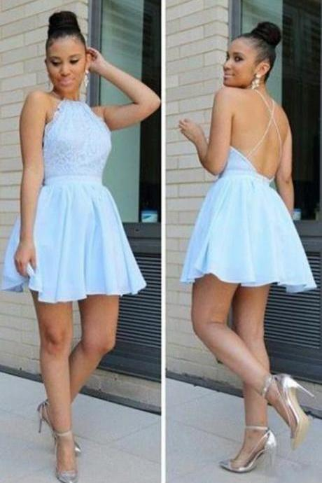 Light Blue Homecoming Dresses ,Short Homecoming Dress, Homecoming Dress, Backless Homecoming Dress, Simple Homecoming Dress, Party Dress