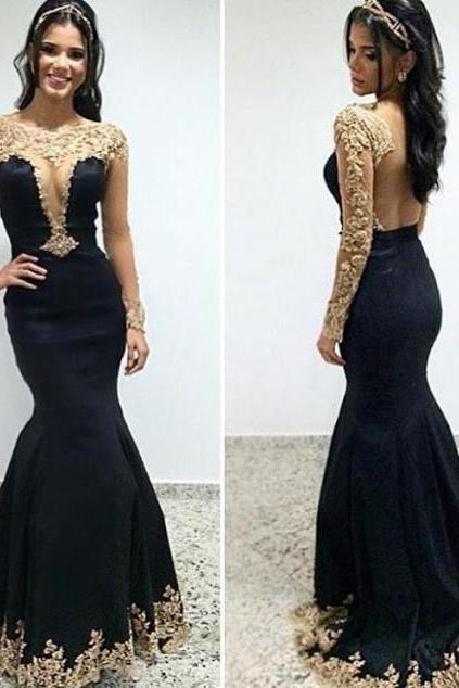 Black Prom Dresses,Long Sleeves Mermaid Prom Dress,Appliques Beading Floor Length Prom Dresses,Party Dresses Evening Dress