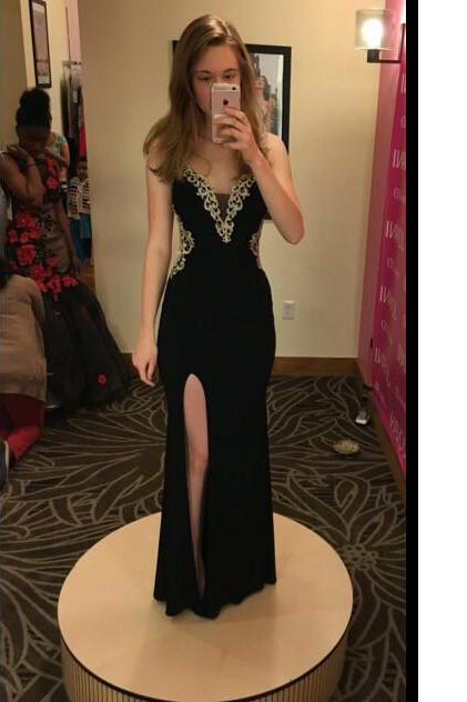 Black Long Prom Dress,Chiffon Prom Dresses,Prom Dress with Slit,Evening Dress,Formal Dress,Sparkle Formal Dress For Teens, Length Party Dress,Wedding Guest Prom Gowns, Formal Occasion Dresses,Formal Dress
