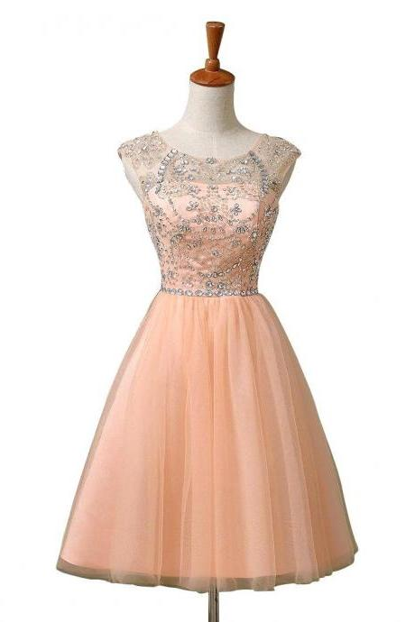 Cap Sleeve Beaded Rhinestone Homecoming Dresses, 8th Grade Graduation Dresses, Blue Pink Coral Short Prom Dresses