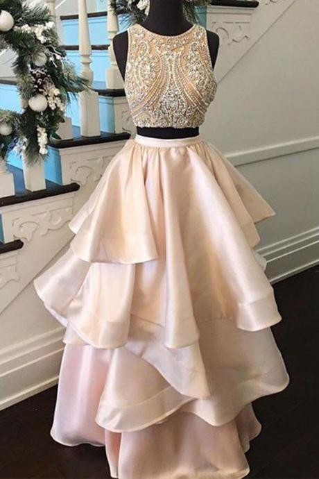 Pink satins two pieces Prom Dresses,beading A-line Prom Dress,full-length casual dress,graduation dresses