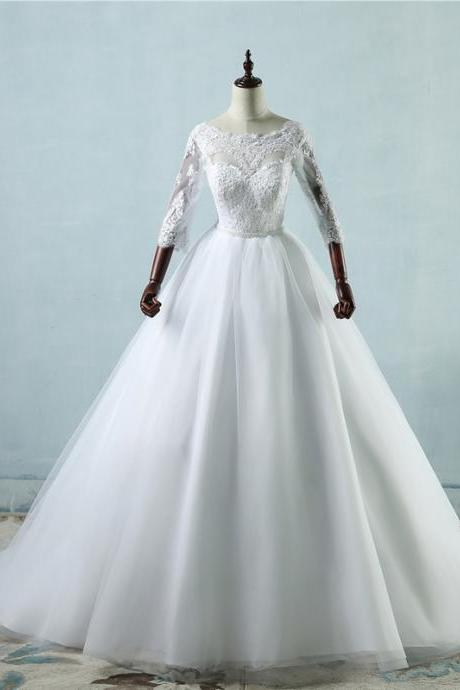Long Wedding Dress, Lace Wedding Dresses, Tulle Wedding Dress, Floor-Length Bridal Dress, 3/4 Sleeve Wedding Dress, Custom Made Wedding Dress,