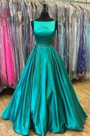 Popular Green Prom Dress,Sleeveless Beaded Evening Dress,Floor Length Party Dress