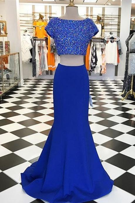 Modern Two Piece Prom Dresses, Short Sleeves Prom Dress,Beading Evening Dress,Short Sleeves Blue Party Dress
