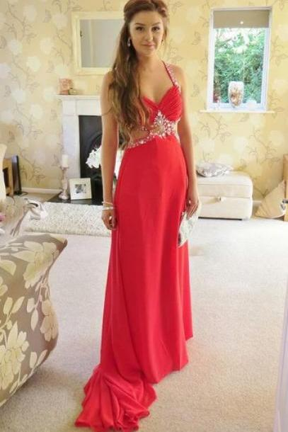 Sexy Crossed Back Sequins Prom Dresses,Beadings Cut Out Straps Chiffon Sweep Train Prom Dresses, Prom Gown, Evening Dresses, Formal Dresses