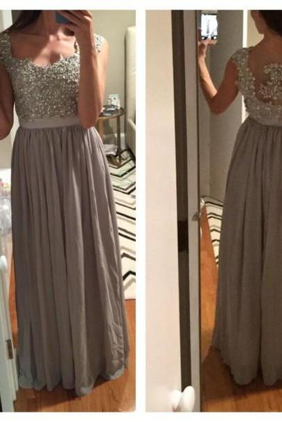 Charming Prom Dress,Beading Prom Dress,A-Line Prom Dress,Chiffon Prom Dress,Appliques Evening Dress
