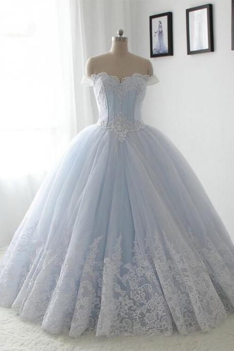 Light blue wedding dress,organza lace sweetheart A-line wedding dresses,long dress,princess ball gown dress