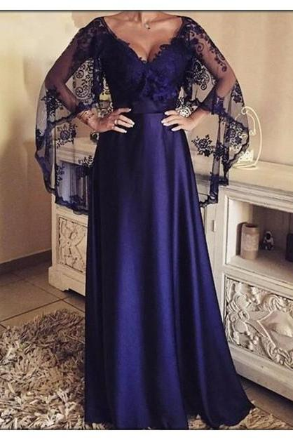 Elegant Evening Dress,V-neck Long Evening Dresses with Lace Shawl,Formal Party Gowns