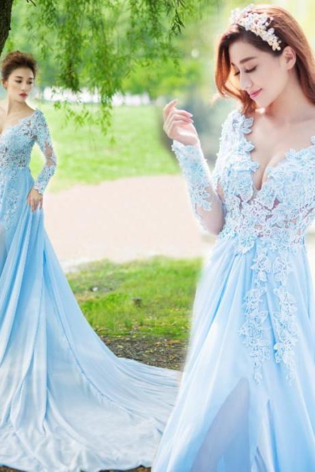 Bule Mermaid Prom Dress, Lace Chiffon Prom Dresses, Sexy Prom Dress