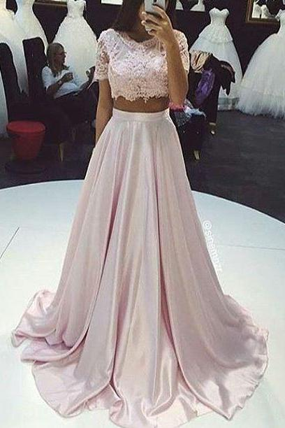 Two Pieces Prom Dress,pink A Line Prom Dresses,Lace Prom Dress,Fashion Prom Dress,Sexy Party Dress, New Style Evening Dress