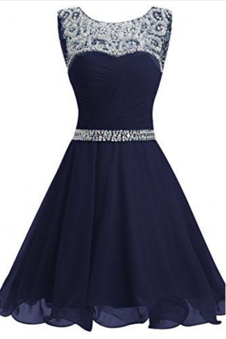 A-line Homecoming Dresses,Royal Blue Homecoming Dresses,Beaded Homecoming Dresses,Chiffon Homecoming Dresses,Short Prom Dresses,Party Dresses