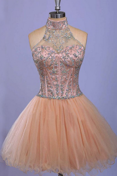 Sleeveless Champagne Homecoming Dresses A Line Tulle Mini Haltered Hollow A Line Homecoming Dress