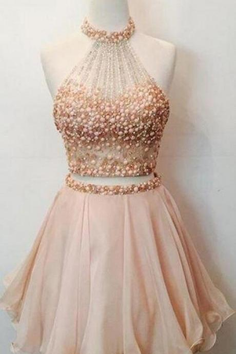 Two Piece Short Homecoming Dress, Cheap Homecoming Dresses,Sleeveless Prom Dress,Graduation Dress