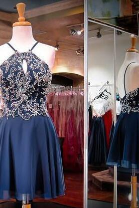 Short Homecoming Dresses ,Navy Blue Prom Dresses, Chiffon Graduation Dress, Beading Homecoming Dress