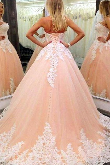 Strapless Nude Ball Gown Wedding Dresses , Lace Wedding Dress, Cheap Wedding Dress,Mermaid Prom Dress