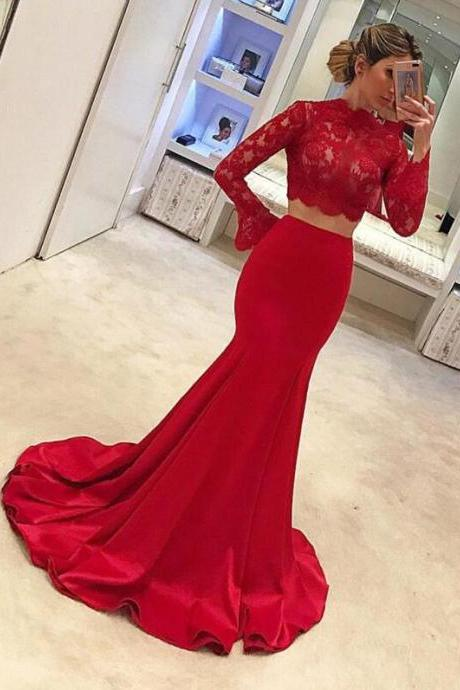 Two Piece Prom Dresses,Sexy Cheap Prom Dress,Lovely Red Prom Dresses, Lace Prom Dresses, Charming Prom Evening Dress, Long Sleeves Prom Dresses,Mermaid Evening Gowns,Prom Dresses 2018