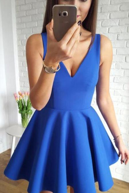 Simple Homecoming Dresses,Satin Homecoming Dress,Cheap Homecoming Dress,A-Line Homecoming Dress,V-Neck Homecoming Dresses,Sleeveless Prom Dress,Short Homecoming Dress