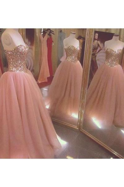 Pink Sweetheart Floor Length Chiffon Ball Gown Prom Evening Dress