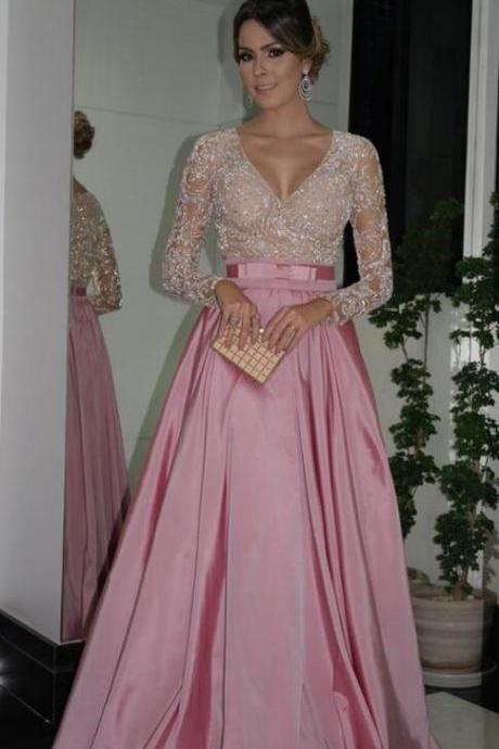 Long Sleeves Prom Dress,Beaded Prom Dress with Beaded Illusion Bodice,Sexy prom Dress,Beading Prom Dress,Formal Dress,Party Dress,Evening Dress