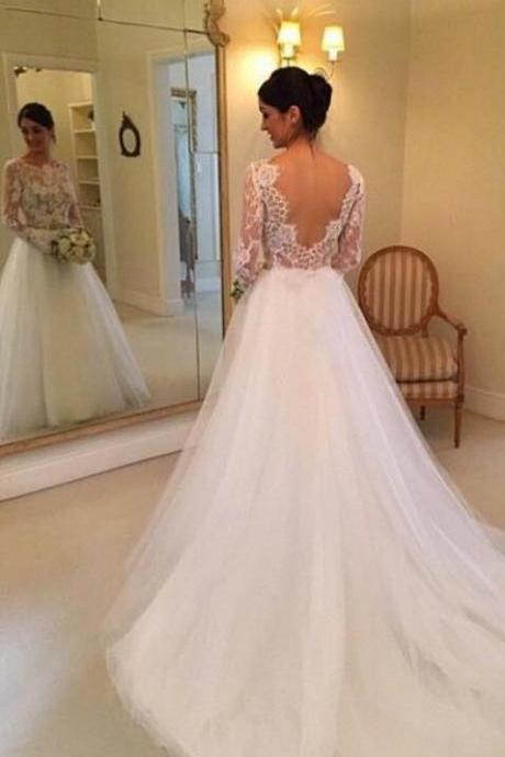 Sheer Lace Bodice Princess Wedding Dress,Bridal Dress,lace wedding dress