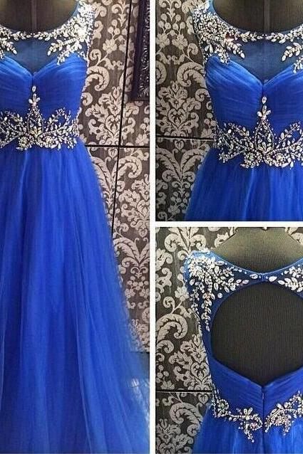 Beading Royal Blue Formal Dress, Open Back Formal Dresses,Long Chiffon Prom Dress