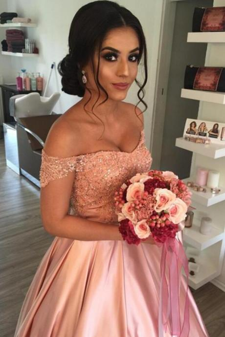 Elegant Prom Dress,Lace Prom/Evening Dress,Off Shoulder PromDress,Pink prom Dress,Satin Wedding Prom Dresses Ball Gowns