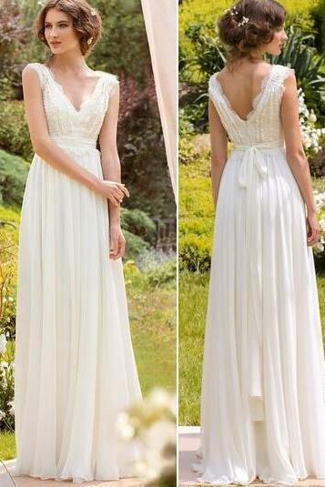 Spring Bohemian Bridal Wedding Dress,beading Wedding Dress,Chiffon Bridal Gown,Cheap Wedding Dress