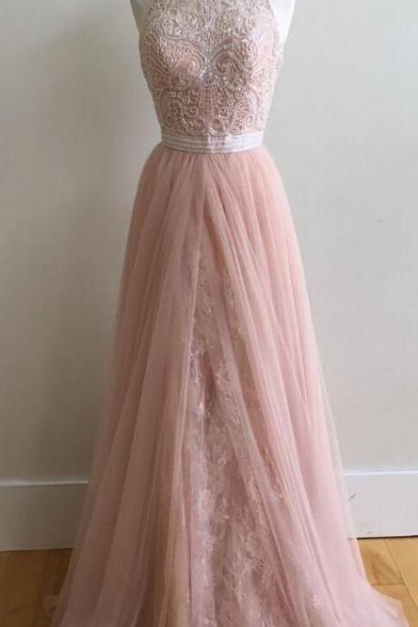 Sleeveless Prom Dress,Cheap Beading Charming Prom Dress,A Line Prom Dresses,Tulle Prom Dresses,Sexy Evening Dresses