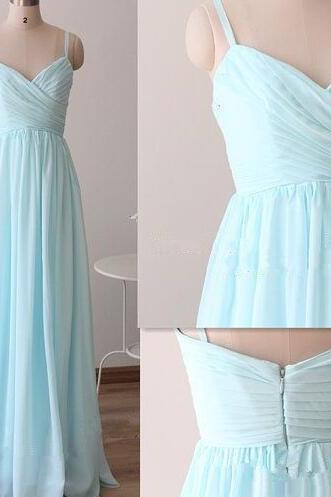 SImple Bridesmaid Dress, Spaghetti Straps Sky Blue Bridesmaid Dresses, Chiffon Bridesmaid Dress, Cheap Wedding Party Dresses