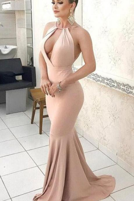 Charming Sexy Nude Halter Mermaid Prom Dress, Cheap Chiffon Prom Dress,Backless Formal Gown With Cut Out Bodice