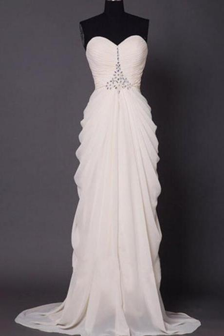 Custom Long White Prom Dress with Rhinestones Sparkly Sweetheart Neckline Chiffon Prom Dress