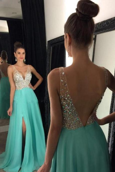 Sexy Beading Backless Prom Dress,Deep V-Neck Chiffon Long Prom Dress with Side Slit,Chiffon Prom Dresses