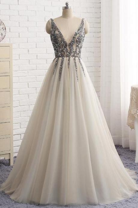 Sexy Deep V Neck Prom Dresses,Cheap Beaded Prom Dress,See Through Long Party Dress