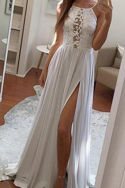 Simple White Lace Prom Dresses,Applique Halter Simple Prom Dress,Long Evening Dress with Side Slit,Floor Length Formal Dress