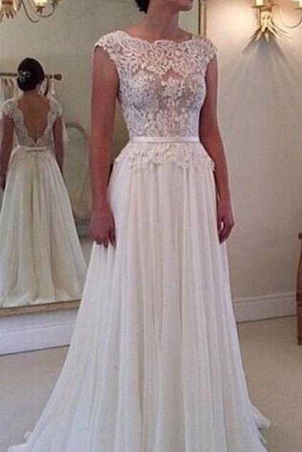 Custom Made Beach Lace Wedding Dress, A Line Backless Lace Wedding Dresses, Dresses For Wedding, Wedding Gowns, Chiffon Wedding Dress
