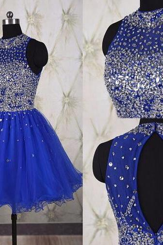 Blue Homecoming Dress,A line Beaded Homecoming Dresses,Backless Homecoming Dresses,Short Prom Dresses,Party Dresses