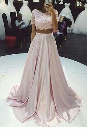 Sexy Pink prom dress,Cheap A-line lace two pieces long prom dress,fashion dress for girls
