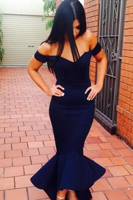 Ankle Length Formal Dress,Evening Gown,Cap Sleeve Evening Dress,Mermaid Evening Dress,Celebrity Dress,Hot Style Evening Dress