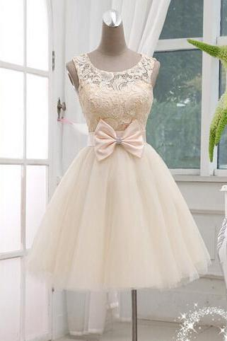 Charming Short Homecoming Dress, Champagne Lace Ball Gown Knee Lenth Prom Dress, Lace Prom Dress, Homecoming Dresses