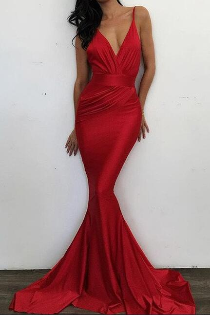 Mermaid Red V Neck Prom Dress,Cheap prom Dress,Sexy Red Evening Dress with Sweep Train